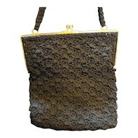 La Regale Black Knotted Cord Crocheted Evening Bag