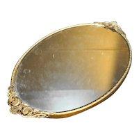 Gilt Ormolu Oval Mirror Dresser Tray Urn Flower Handles