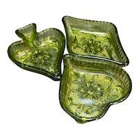 Indiana Glass Sandwich Green Nut Candy Bridge Dishes