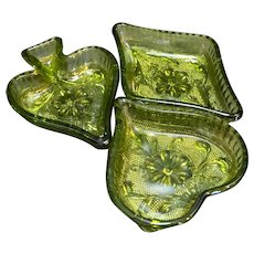 Indiana Glass Sandwich Green Nut Candy Bridge Dishes