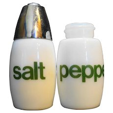 Gemco White Green Salt Pepper Shakers