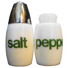 Gemco White Green Salt Pepper Shakers