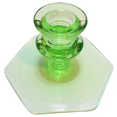 Green Depression Glass Candle Holder Hexagon Base
