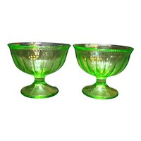 Federal Glass Colonial Fluted Rope Green Depression Glass Sherbets Pair