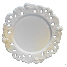 Milk Glass Cupid Cherub Angel Lace Edge Plate 9 IN