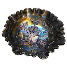 Imperial Glass Lustre Open Rose Three Toed Footed Bowl 9 IN Smoke Grey Carnival