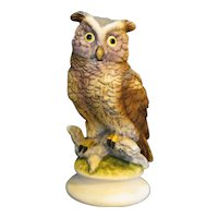 Lefton Great Horned Owl Figurine Hand Painted KW866