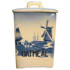 Delft Blue Windmills Oatmeal Canister Made in Czechoslovakia