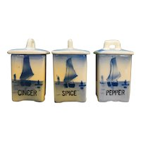Delft Blue Sloops Sailboats Spices Canisters Made in Czechoslovakia
