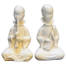 Blanc De Chine Lenwile Ardalt Kneeling Boy Musician Figurines Pair