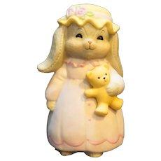 Vintage Enesco Lucy Rigg Floppy Ear Bunny Rabbit w Teddy Bear Figurine