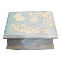 Incolay Stone Soapstone Blue White Butterflies Flowers Trinket Box