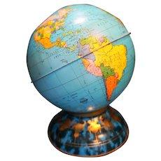 Ohio Art Metal World Map Globe Bank 1960s