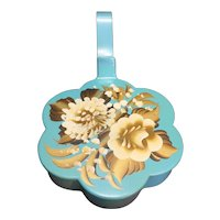 Plymouth Tole Blue Scalloped Hand Painted Silent Butler