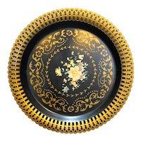 American Art-Ware Metal Plate Tray Lattice Edge Floral