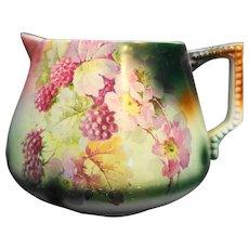 Porcelain Lemonade Jug Blackberries Flowers Unsigned