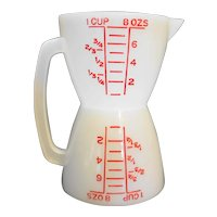 Tupperware Red on White Measuring Cup Wet Dry Double 1 Cup