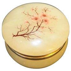Alabaster Italian Small Round Box Cherry Blossoms Decoration