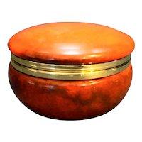 Alabaster Italian Small Round Box Cherry Red