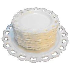 Anchor Hocking Lace Edge White Milk Glass Cake Set Platter Plates