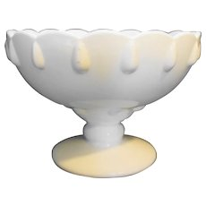 Indiana Milk Glass Teardrop Footed Centerpiece Bowl