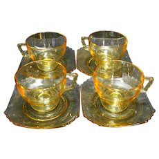 Fostoria Mayfair Topaz Yellow Cups Saucers 8 Pieces