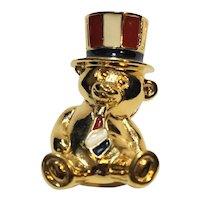 Avon Gold Tone Bear Pin Red White Blue Enamel Hat Tie Patriotic Uncle Sam