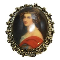 Portrait Cameo Pendant Pin Oval Lady