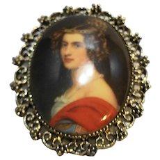 Portrait Cameo Pendant Pin Oval Lady