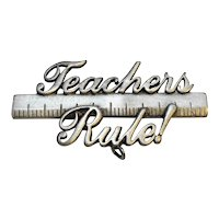 Teacher's Rule! Pewter Tone JJ Pin Jonette Jewelry