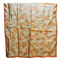 Vera 1960s-70s Orange Taupe Autumn Trees Square Scarf 21 IN