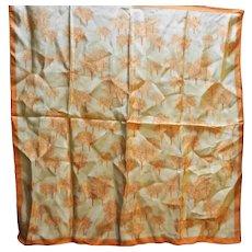 Vera 1960s-70s Orange Taupe Autumn Trees Square Scarf 21 IN