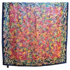 Specialty House Silk Scarf Blue Multi Floral Made in Japan 31 IN Square