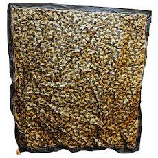 Glentex Gold Lions Black Field Silk Scarf Made in Japan
