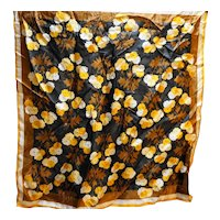 Vera 1970s-80s Brown Orange Fall Colors Floral Scarf 22 IN