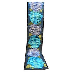 Oscar De La Renta Oblong Blue Floral Satin Chiffon Scarf