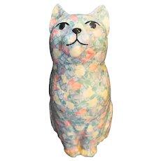 Pastel Floral Decoupaged Plaster Cat Figurine Statue 1980s Vintage