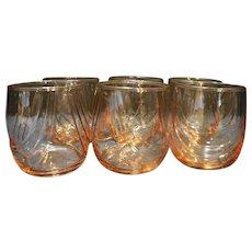 Libbey Crystal Pink Drape Optic Rocks Tumblers Set of 6 Drinking Glasses