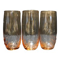 Libbey Crystal Pink Drape Optic Tumblers Set of 3 Drinking Glasses 5 1/8 IN