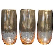 Libbey Crystal Pink Drape Optic Tumblers Set of 3 Drinking Glasses 6 IN