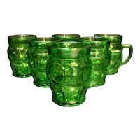 Wheaton Emerald Green Bullseye Circle Mugs Cups Set of 6
