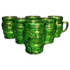Wheaton Emerald Green Bullseye Circle Mugs Cups Set of 6