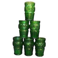 Wheaton Emerald Green Bullseye Circle Tumblers Set of 6