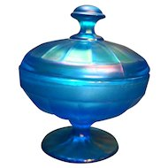 Fenton Celeste Blue Iridescent Stretch Glass Paneled Candy Box Dish