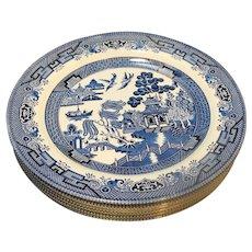 Churchill England Blue Willow Dinner Plates Set of 6