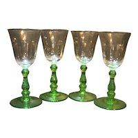 Apple Green Depression Glass Cordials Green Stem Clear Optic Bowl Set of 4