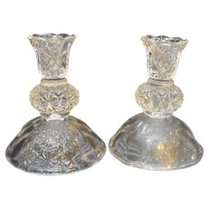 Olde Virginia Glass Fenton Daisy Button Clear Candle Holders Pair