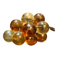 Lucite Grapes Bunch Amber Yellow Orange Faux Driftwood Midcentury