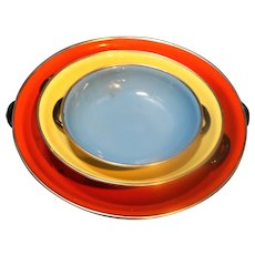 Red Yellow Blue Enamel Bowls Saute Pans Made in Yugoslavia