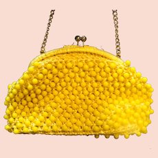 Lemon Yellow Plastic Beaded Raffia Straw Purse Clutch Made in Japan Vintage